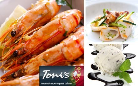 Treat yourself and a partner to the flavours of Portugal and Mozambique with the popular Toni's on Kloof Street! Your choice of 2 Starters or 2 Desserts, plus 2 Main Meals for only R120.