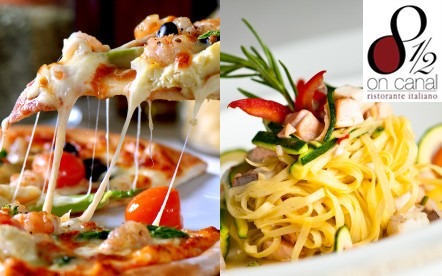 Wednesday evenings have just got a whole lot better! An all you can eat Gourmet Italian Pizza and Pasta Festival for 4 People for only R156 at 8 ½ on Canal, Century City.