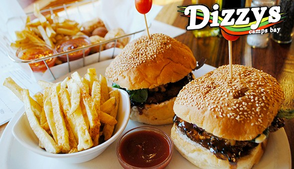 Build-a-Basket Starter to Share, plus 2 x 200g Beef Burgers with Chips or a Side Salad for only R119 at Dizzys, Camps Bay!
