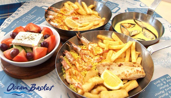 A 3-Course Ocean Basket Experience for 2 People at Ocean Basket, Plumstead! Includes; Prawn, Calamari & Line Fish Combos, plus a Garlic Mussels Starter, and Chocolate Duo Desserts!