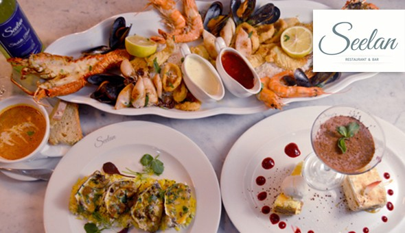 Baked Oyster Thermidor, Lobster Bisque, Seafood Platter (2 x Grilled Lobsters, Tiger Prawns, Baby Calamari, Mussels, Grilled Fish & More!) and a Trio of Desserts for 2 at Seelan Restaurant, V&A Waterfront.
