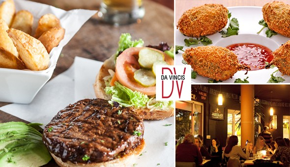 Da Vinci's on Kloof Street! Peppadew Poppers & Garlic Pizza Bread Starters, plus a Choice of Gourmet Burgers with Sides for 2 People!