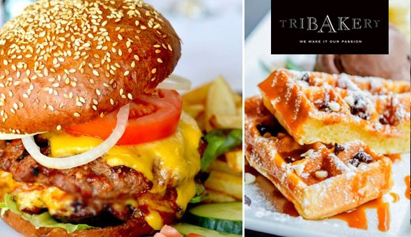 Tribakery, V&A Waterfront: Choice of Gourmet Cheese Burgers with Fries for 2 People, including a Waffle with Ice-cream & Chocolate Sauce – all for only R99!