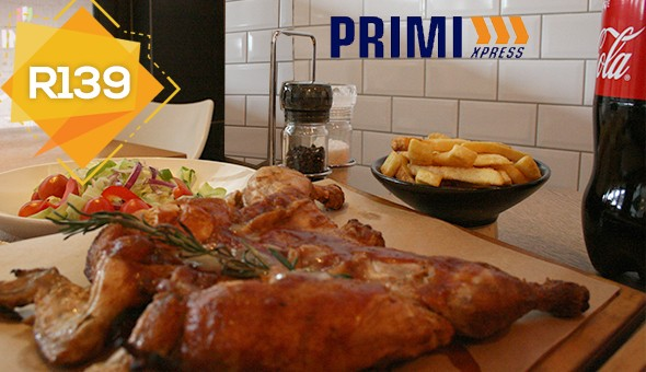 The Family Feast at Primi Xpress Rosmead! Includes: A Full Chicken (Spicy, BBQ or Jamaican Jerk), Full Portion Fries, Rosemary & Salt Focaccia, Garden Salad & a 2 Litre Coke – all at only R139! (Sit-down or Takeaway)