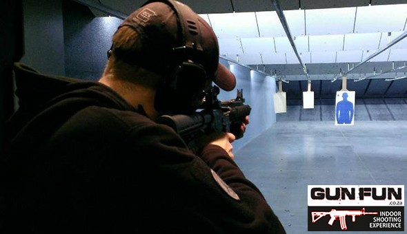 AK47 Rifle, .22 LR Assault Rifle, Glock Pistol, .38 Special & More! An Indoor Firearm Range Shooting Experience for 2 People at Gun Fun