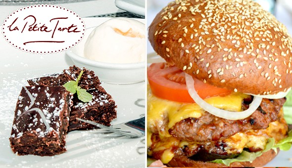 Green Point: 200g Gourmet Cheese Burgers with Chips & Lindt Chocolate Brownies for 2 People at La Petite Tarte, located in the Cape Quarter Lifestyle Centre!