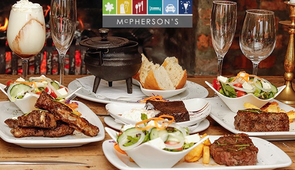 Fillet Steak, Lamb Chops, Sirloin Steak, Chocolate Brownie, Malva Pudding, Dom Pedro & More for 2 People at McPherson's Restaurant on the Vlei!
