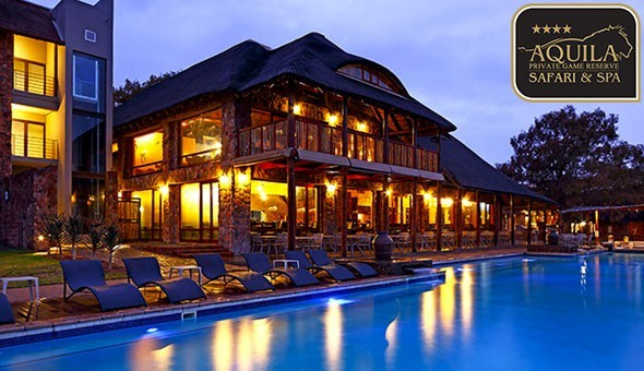 Exclusive: A Luxury Stay for 2 in a Premier Lodge Room with Views, including Welcome Drinks, Spa Access, Breakfast Buffet, Lunch Buffet, Dinner Buffet, a Horseback Safari, 2 Game Drives & More at Aquila Private Game Reserve!