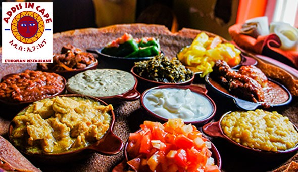 Share a taste of the extraordinary for up to 4 people at Addis in Cape. An exclusive 2-course Ethiopian dining experience with an Ethiopian coffee or tea!
