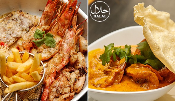 An Exclusive 2-Course Gourmet Dining Experience for 2 People at Mazaari Restaurant, Gardens! Seafood Platter, Fillet Steak, Prawn Chaat, 500g Beef Ribs, Ferrero or Lindt Milkshake, Chocolate Brownie, Baked Cheesecake & More (Halaal)!