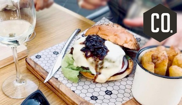 A 2-Course Social Dining Experience for 2 People: 200g Gourmet Burgers, Pulled Pork Pizzas, Waffles, Chocolate Brownies & More at COmpany Social Brasserie, Stellenbosch!