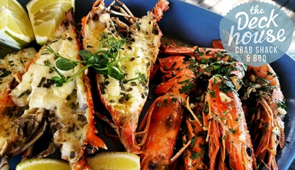 Grilled Lobster Tails, Wild Deckhouse Prawns, 500g Bucket of Blue Swimmer Crabs & More! Seafood Combos for up to 4 People at The Deckhouse Crab Shack & BBQ, Kloof Street!