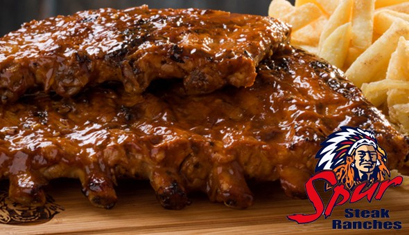 Silver Dollar Spur, GrandWest: The Spur Mega Feast for 2 People! Includes: 1KG Spur's Famous Pork Ribs (to share) with Spur-style Crispy Onion Rings & Chips, 2 x Classic Waffles (half) and 2 x Regular Sodas – all at only R225!