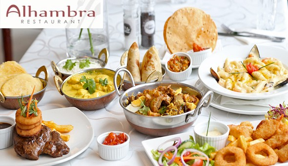 An Exclusive 2-Course Gourmet Dining Experience for 2 People at Alhambra Restaurant! Dine on the likes of; Seafood, Steak, Lamb Biryani, Butter Chicken Curry, Chocolate Brownies, Waffles, Sticky Toffee Pudding & More!