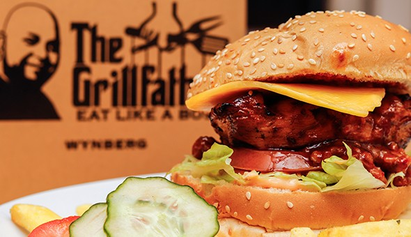 The Grillfather, Wynberg! 2 x Big Boss Beef or Chicken Burgers with Cheese and Chilli Relish or Mushroom Sauce and Chips at only R99! (sit down or takeaway)