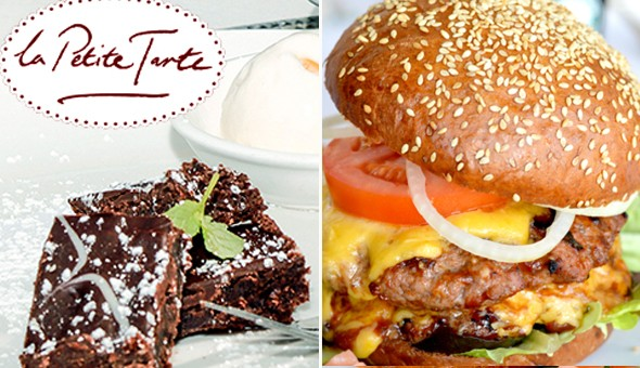200g Gourmet Cheese Burgers with Chips and Lindt Chocolate Brownies for 2 People at La Petite Tarte, Cape Quarter, Green Point!