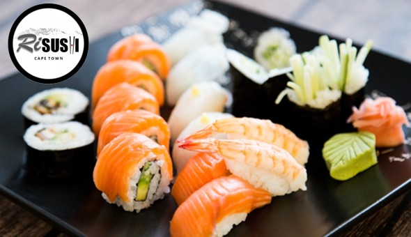 A 23 Piece Gourmet Sushi Platter for 2 People at Risushi, Cape Town! Salmon Roses, Prawn Tempura, Salmon Californian Rolls & More!