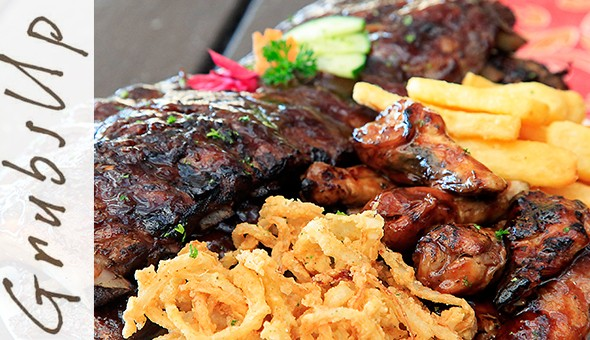1KG BBQ Pork Ribs & 250g Chicken Wings Combo with Chips and 2 Half Waffles with Ice-Cream for 2 People at Grubs Up, Table View!
