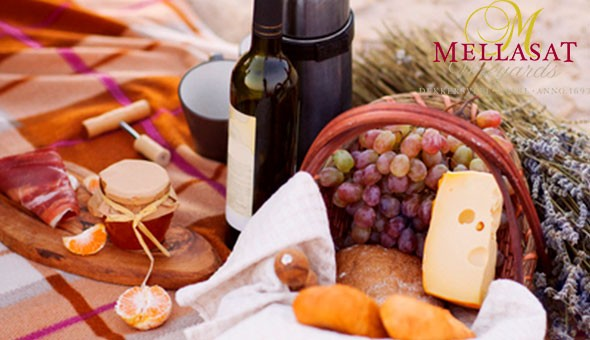 Escape to picturesque Mellasat Vineyards for a Gourmet Picnic, Wine and a Wine Tasting Experience for 2 People! Includes: Cured Meats, Gourmet Cheeses, Freshly Baked Bread, Seasonal Fruit, Salads, Homemade Chutney, Chocolate Brownies & More!