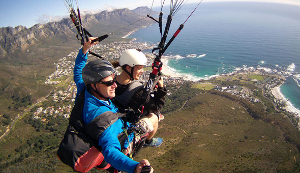 A Tandem Paragliding Flight for 1 Person from Signal Hill or Lions Head!