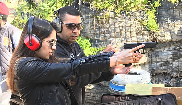An Outdoor Shooting Range Experience at AJ's Running Guns! Fire 20 Rounds with a 9mm Hand Gun Pistol, 9mm Carbine or a MP5 Sub-Machine Gun .22