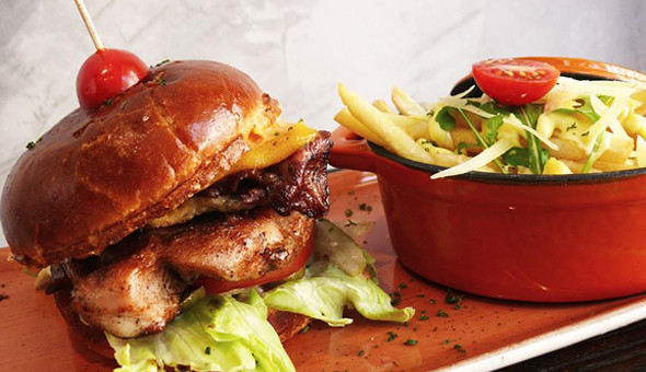 Kloof Street: Gourmet Burgers with Sides and Lindt Chocolate Brownies for 2 People at Robinhood Burger & Grill!