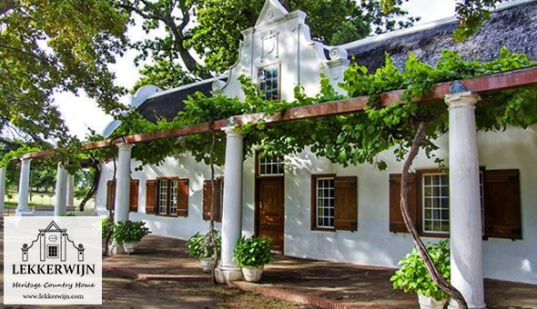 Franschhoek: A 2 Night Getaway for 2 People, including Breakfast, a Cheese & Bread Basket and a Bottle of Wine at Lekkerwijn Historic Country Guest House!
