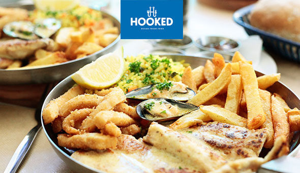 2-Course Dining for only R99! A Seafood Platter and a Dessert for 1 Person at Hooked! The Seafood Platter Includes: Prawns, Calamari, Hake, Mussels, Chips & Rice!