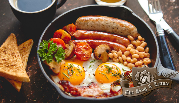 The Slug & Lettuce: Full English Breakfasts for 2 People! Includes: Eggs, Rashers of Bacon, Boerewors, Wedges, Fried Tomato, Bake Beans & Toast!