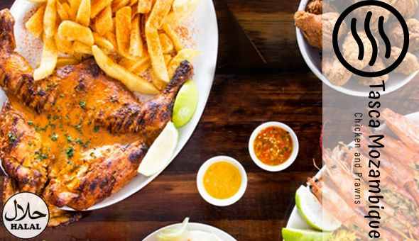 Halaal: Full Flame Grilled Chicken, Large Chips and 4 Portuguese Rolls for only R129 – Sitdown or Takeaway!
