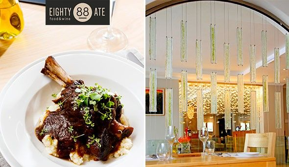 Lamb Shank, 500g BBQ Pork Ribs, Decadent Chocolate Dessert, Cheesecake & More for 2 People at Eighty Ate Restaurant, located in the Cape Town Hollow Boutique Hotel!
