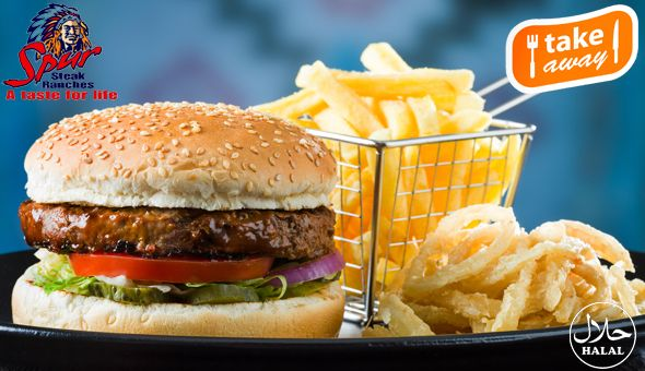 Rodeo Spur Steak Ranch (Halaal): 2 x Original Spur Burgers, served with Chips and Spur-style Crispy Onion Rings at only R99!