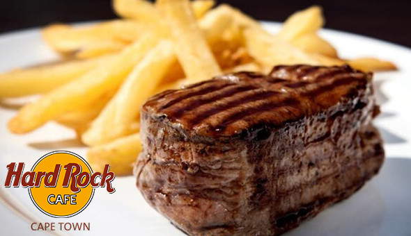 250g Fillet or Sirloin Steaks, New York Cheesecake Desserts and a Glass of Wine each for 2 People at Hard Rock Cafe, Camps Bay!