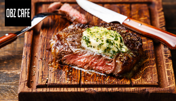 250g Sirloin Steaks and Desserts for 2 People at OBZ CAFÉ!