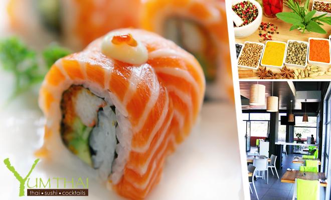 Enjoy fine Thai Cuisine & Sushi at half price.