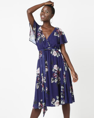 City Goddess London Floral Print Midi Dress With Flutter Sleeves Purple