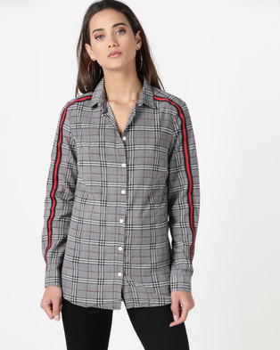 Brave Soul Woven Check Shirt With Tape Multi