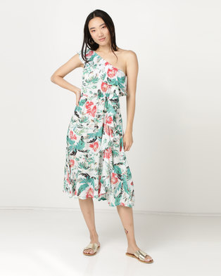 Brave Soul Printed One Shoulder Dress Ecru/Emerald
