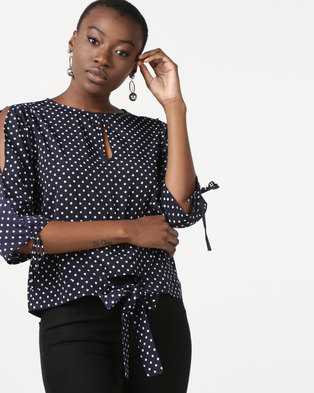 G Couture Spot Top With Front Ties Navy