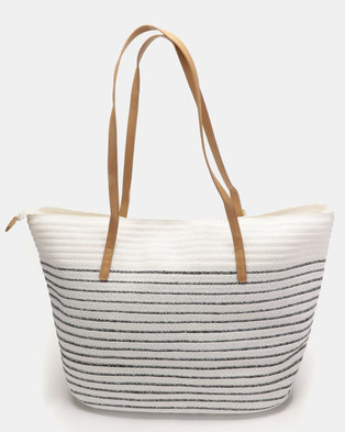 G Couture Stripe Straw Bag Navy