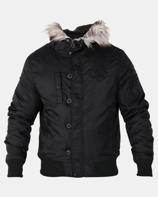 Crosshatch cackton Wadded Bomber Jacket With Hood Black