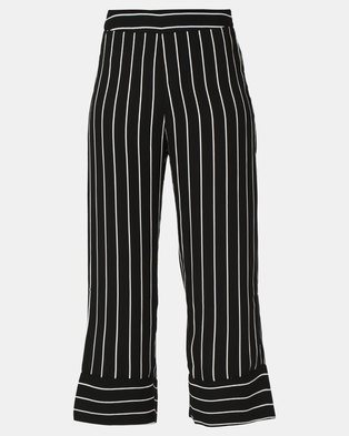 G Couture Striped Pants Black