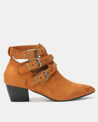 Utopia Studded Strap Boot Tan