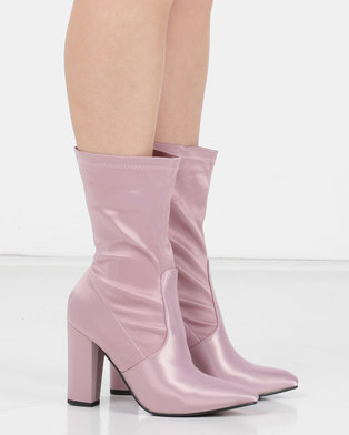 Utopia Satin Stretch Boot Pink