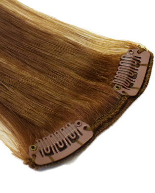 Blkt Clip in Highlight Real Human Hair 10 inches Straight Hair Extensions Brown #6/22