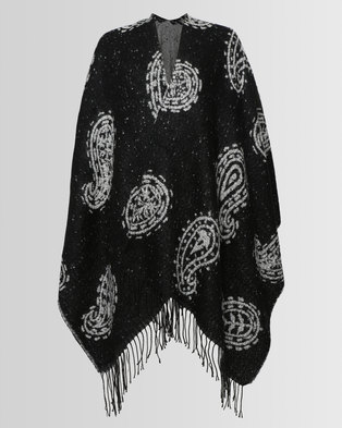 London Hub Fashion Boucle Paisley Reversible Wrap Black/White
