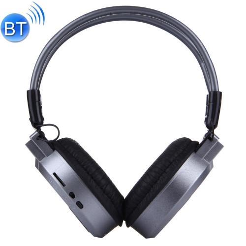 SH-S1 Folding Stereo HiFi Wireless Sports Headphone Headset with LCD Screen to Display Track Information & SD / TF Card Slot & LED Indicator Light & FM Function for Smart Phones & iPad & Laptop & Notebook & MP3 or Other Bluetooth Audio Devices(Silver)