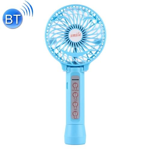 Battery Operated Foldable Handheld Mini Fan with 3 Speed Control Support Bluetooth & TF Card Music Play(Blue)