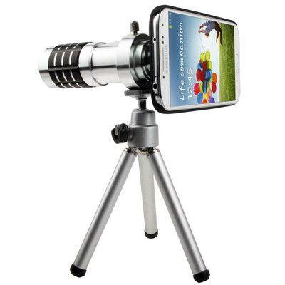 12X Optical Zoom Lens Mobile Phone Telescope Circumscribing Lens with Tripod + Plastic Case for Samsung Galaxy S IV / i9500