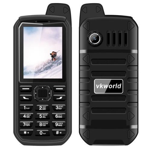 VKworld Stone V3 Plus Quadruple Phone Anti-Low Temperature IP54 Waterproof Shockproof Dustproof 4000mAh Battery 2.4 inch 21 Keys LED Flashlight FM BT TF Dual SIM Network: 2G Russian Keyboard(Black)